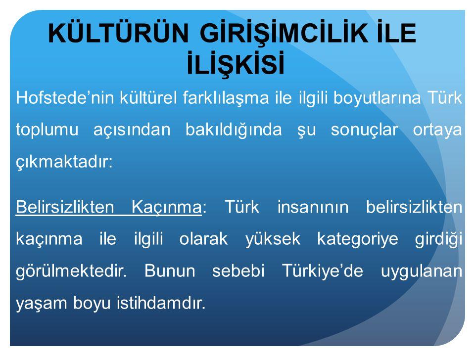 Hofstede'nin kültürel farklılaşma ile ilgili boyutlarına Türk toplumu açısından bakıldığında şu sonuçlar ortaya çıkmaktadır: Belirsizlikten Kaçınma: T
