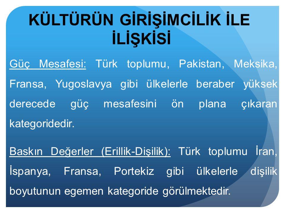 Güç Mesafesi: Türk toplumu, Pakistan, Meksika, Fransa, Yugoslavya gibi ülkelerle beraber yüksek derecede güç mesafesini ön plana çıkaran kategoridedir