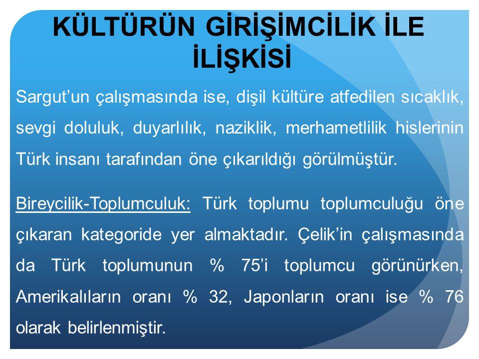 Sargut'un çalışmasında ise, dişil kültüre atfedilen sıcaklık, sevgi doluluk, duyarlılık, naziklik, merhametlilik hislerinin Türk insanı tarafından öne