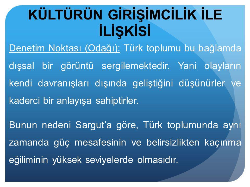 KÜLTÜRÜN GİRİŞİMCİLİK İLE İLİŞKİSİ Denetim Noktası (Odağı): Türk toplumu bu bağlamda dışsal bir görüntü sergilemektedir. Yani olayların kendi davranış