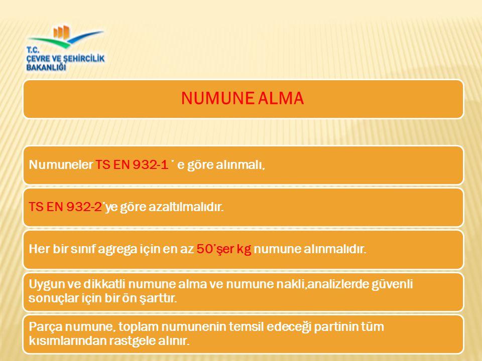 NUMUNE ALMA Numuneler TS EN 932-1 ' e göre alınmalı,TS EN 932-2'ye göre azaltılmalıdır.Her bir sınıf agrega için en az 50'şer kg numune alınmalıdır.