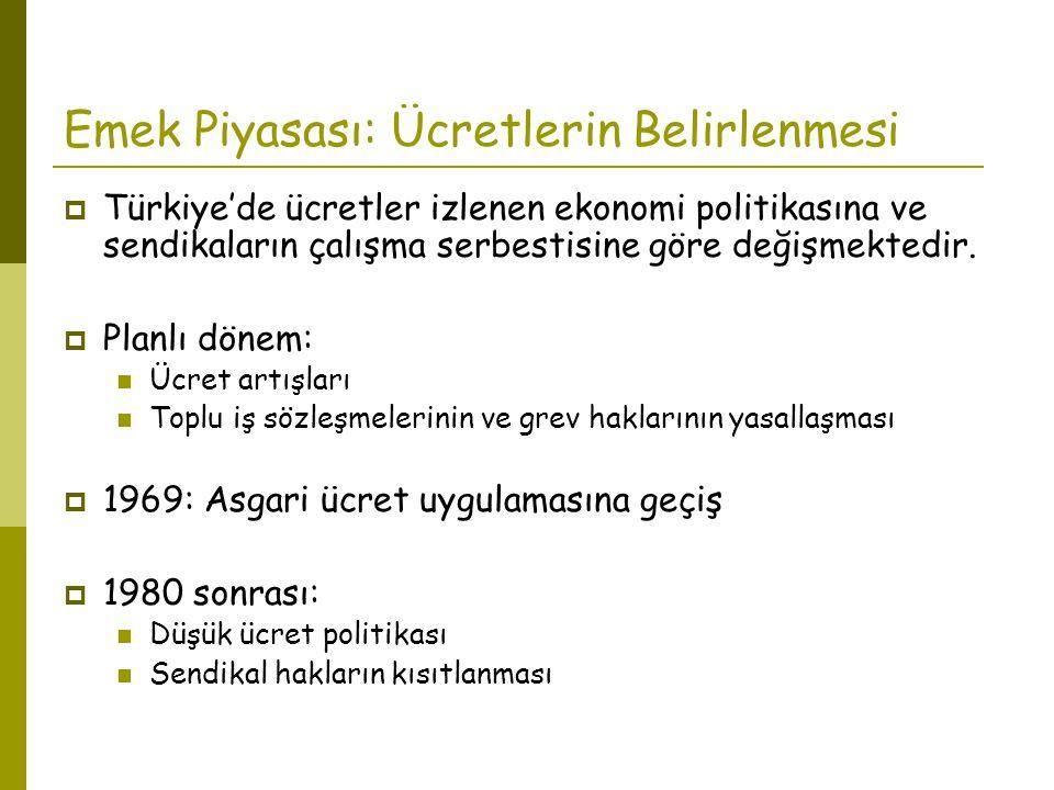 Emek Piyasası: Ücretlerin Belirlenmesi  Türkiye'de ücretler izlenen ekonomi politikasına ve sendikaların çalışma serbestisine göre değişmektedir.  P