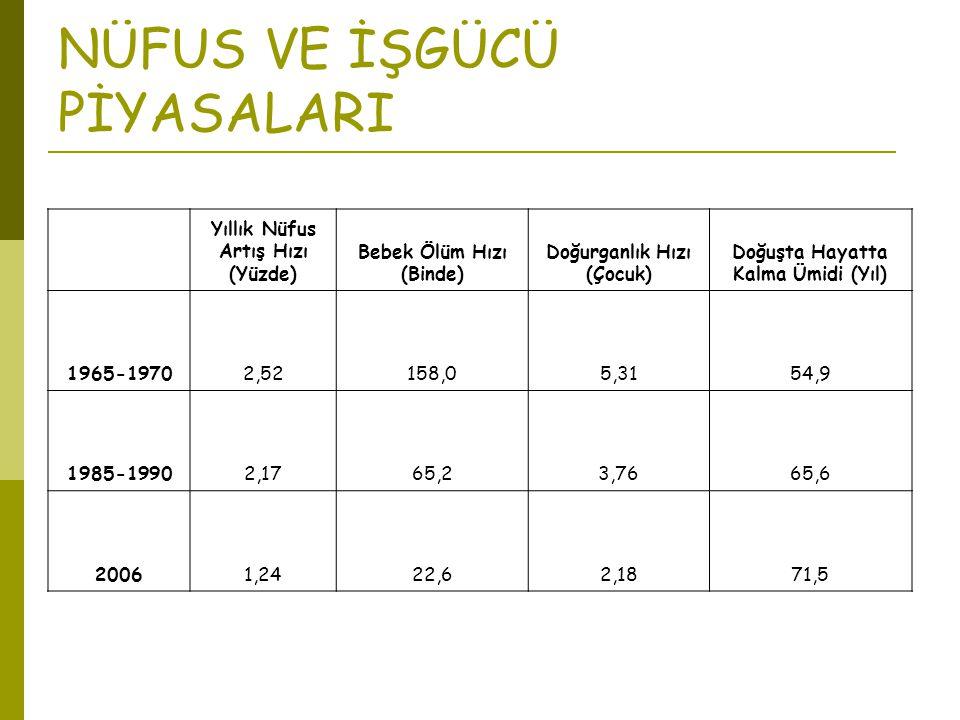 NÜFUS VE İŞGÜCÜ PİYASALARI Yıllık Nüfus Artış Hızı (Yüzde) Bebek Ölüm Hızı (Binde) Doğurganlık Hızı (Çocuk) Doğuşta Hayatta Kalma Ümidi (Yıl) 1965-197