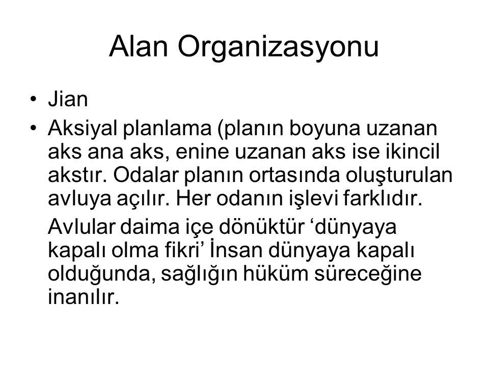 Alan Organizasyonu Jian Aksiyal planlama (planın boyuna uzanan aks ana aks, enine uzanan aks ise ikincil akstır. Odalar planın ortasında oluşturulan a