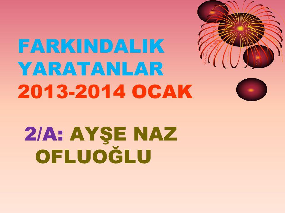FARKINDALIK YARATANLAR 2013-2014 OCAK 2/A: AYŞE NAZ OFLUOĞLU