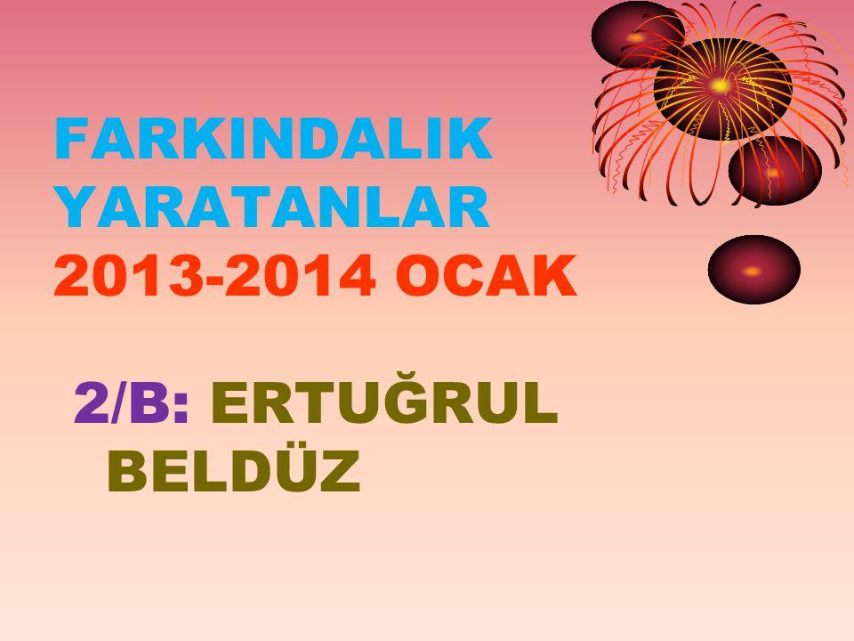 FARKINDALIK YARATANLAR 2013-2014 OCAK 2/B: ERTUĞRUL BELDÜZ