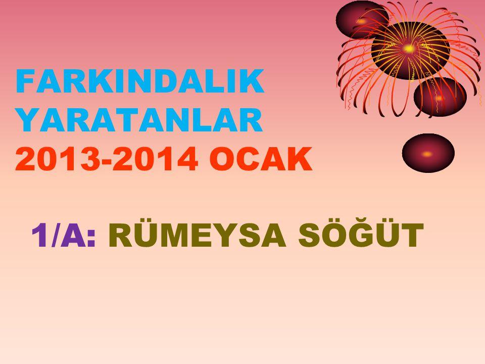 FARKINDALIK YARATANLAR 2013-2014 OCAK 1/A: RÜMEYSA SÖĞÜT