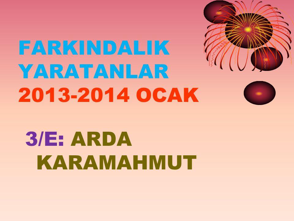 FARKINDALIK YARATANLAR 2013-2014 OCAK 3/E: ARDA KARAMAHMUT