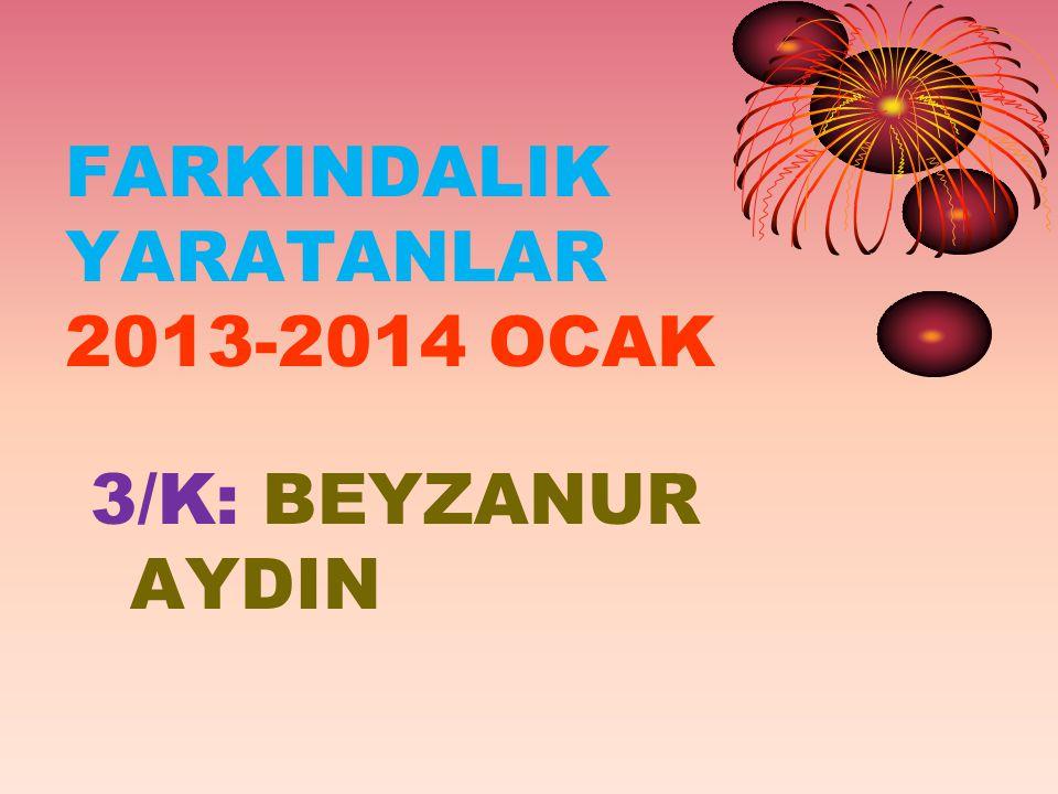 FARKINDALIK YARATANLAR 2013-2014 OCAK 3/K: BEYZANUR AYDIN