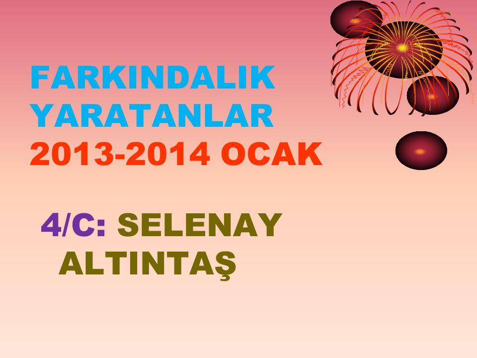 FARKINDALIK YARATANLAR 2013-2014 OCAK 4/C: SELENAY ALTINTAŞ