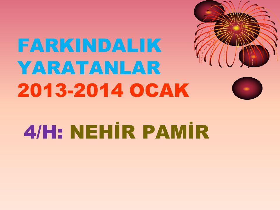 FARKINDALIK YARATANLAR 2013-2014 OCAK 4/H: NEHİR PAMİR
