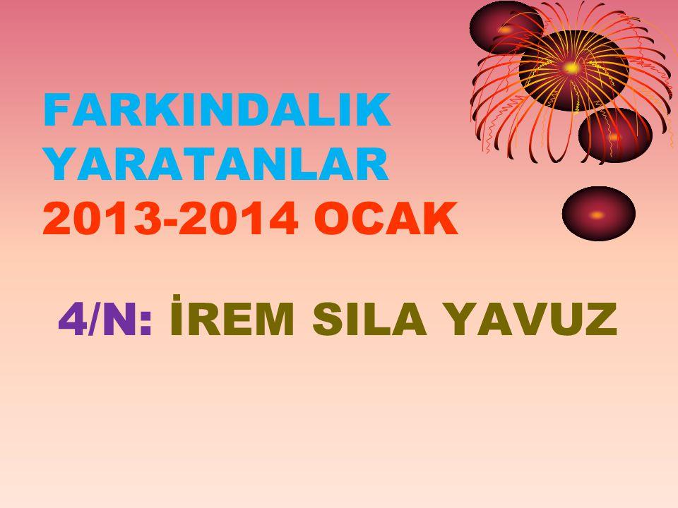 FARKINDALIK YARATANLAR 2013-2014 OCAK 4/N: İREM SILA YAVUZ