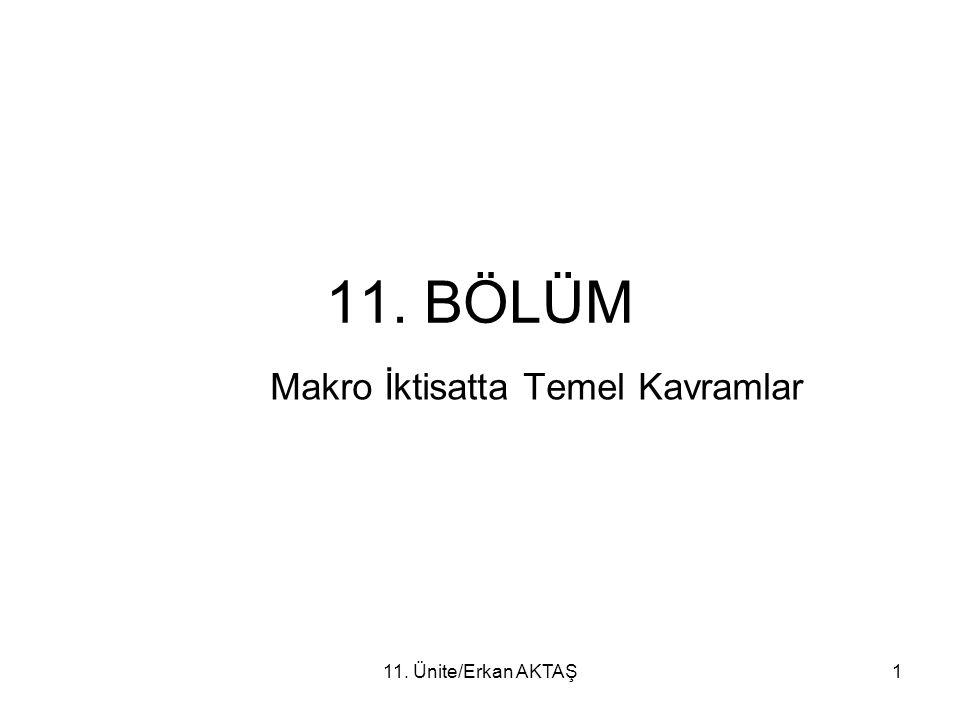 11. Ünite/Erkan AKTAŞ1 11. BÖLÜM Makro İktisatta Temel Kavramlar