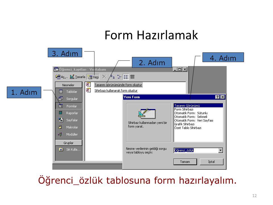 12 Form Hazırlamak 1. Adım 2. Adım 3. Adım 4. Adım Öğrenci_özlük tablosuna form hazırlayalım.