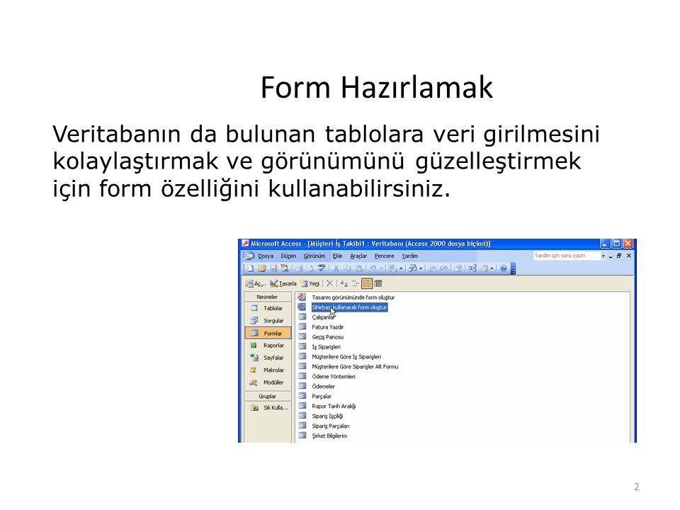 2 Form Hazırlamak Veritabanın da bulunan tablolara veri girilmesini kolaylaştırmak ve görünümünü güzelleştirmek için form özelliğini kullanabilirsiniz.