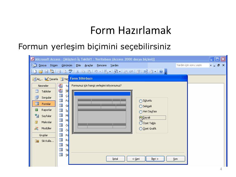 4 Form Hazırlamak Formun yerleşim biçimini seçebilirsiniz