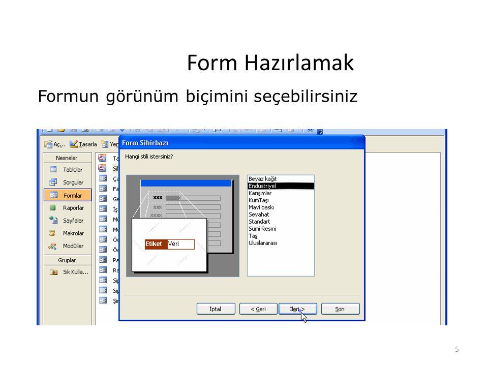 5 Form Hazırlamak Formun görünüm biçimini seçebilirsiniz