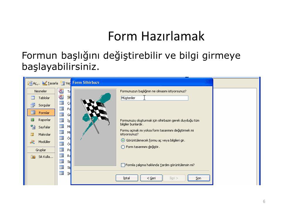 6 Form Hazırlamak Formun başlığını değiştirebilir ve bilgi girmeye başlayabilirsiniz.