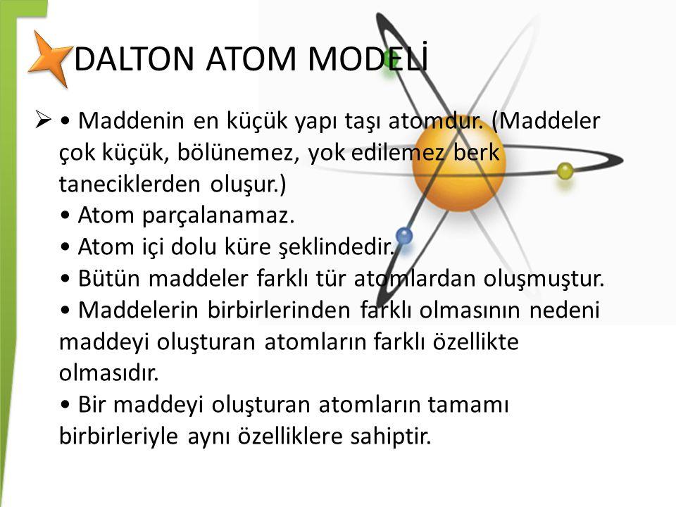 DALTON ATOM MODELİ  Maddenin en küçük yapı taşı atomdur. (Maddeler çok küçük, bölünemez, yok edilemez berk taneciklerden oluşur.) Atom parçalanamaz.