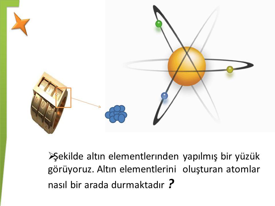  Şekilde altın elementlerınden yapılmış bir yüzük görüyoruz. Altın elementlerini oluşturan atomlar nasıl bir arada durmaktadır ?