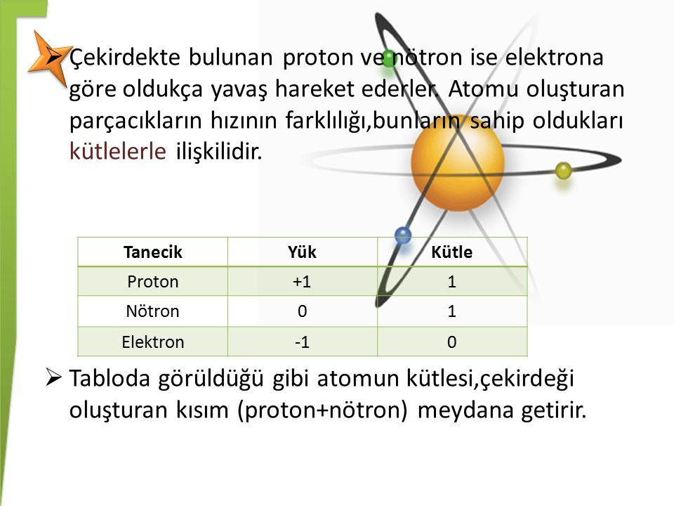  Çekirdekte bulunan proton ve nötron ise elektrona göre oldukça yavaş hareket ederler. Atomu oluşturan parçacıkların hızının farklılığı,bunların sahi