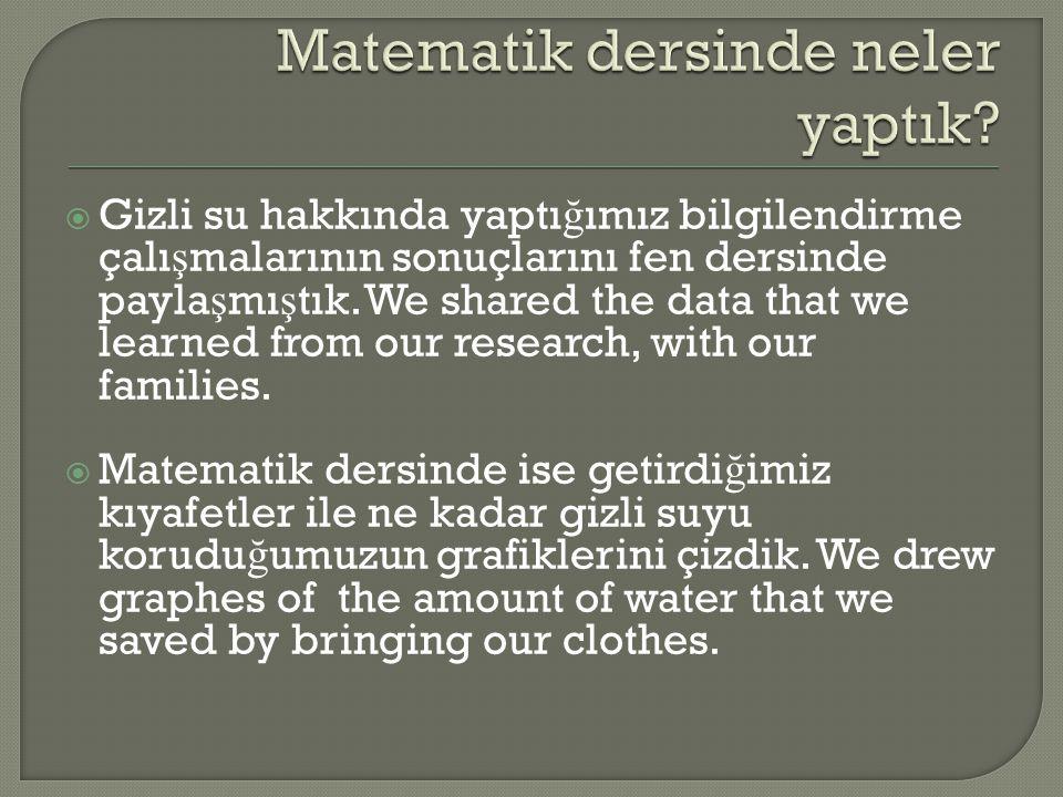  Gizli su hakkında yaptı ğ ımız bilgilendirme çalı ş malarının sonuçlarını fen dersinde payla ş mı ş tık.