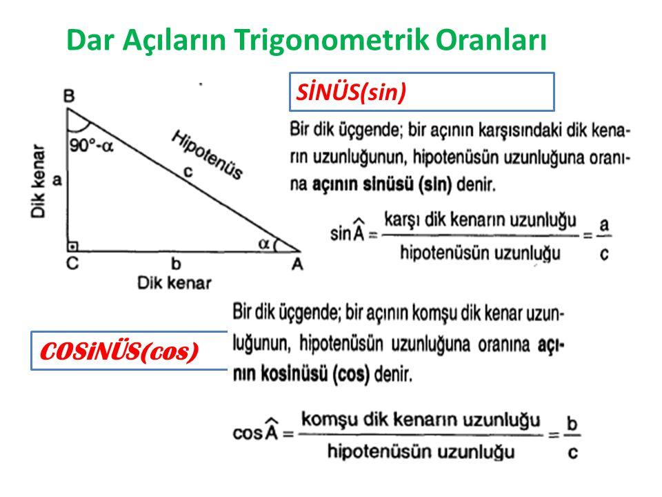 Dar Açıların Trigonometrik Oranları SİNÜS(sin) COSiNÜS(cos)