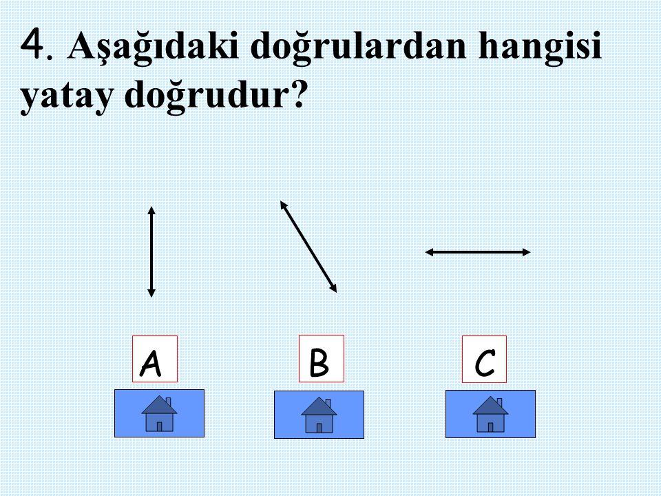3.Aşağıdaki şekillerden hangisinin dört açısı yoktur ? A B C