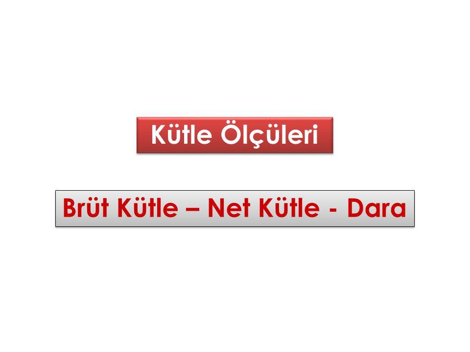 Kütle Ölçüleri Kütle Ölçüleri Brüt Kütle – Net Kütle - Dara Brüt Kütle – Net Kütle - Dara
