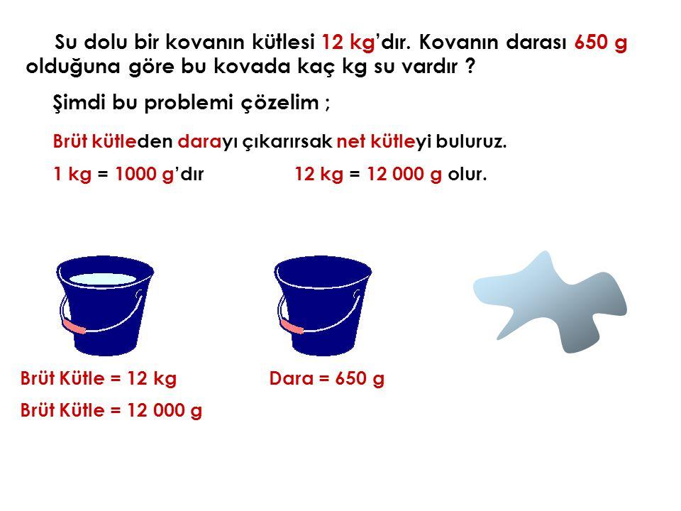 Şimdi bu problemi çözelim ; Brüt Kütle = 12 kg Brüt kütleden darayı çıkarırsak net kütleyi buluruz. Dara = 650 g 1 kg = 1000 g'dır12 kg = 12 000 g olu