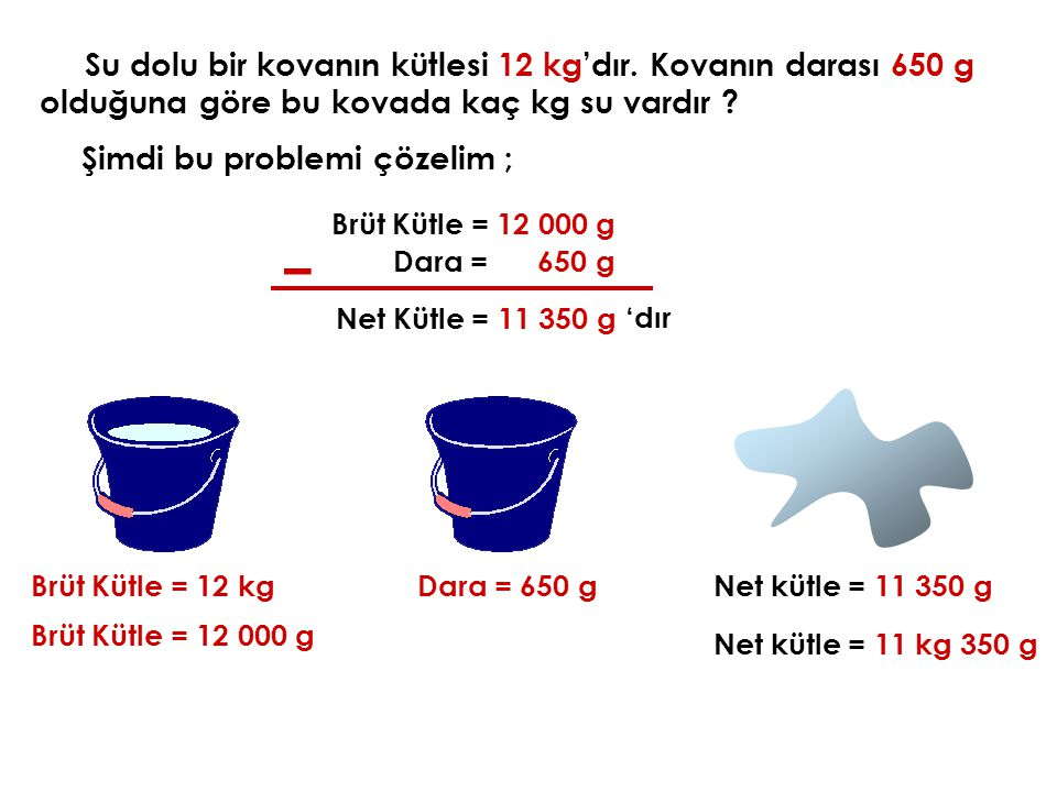 Su dolu bir kovanın kütlesi 12 kg'dır. Kovanın darası 650 g olduğuna göre bu kovada kaç kg su vardır ? Şimdi bu problemi çözelim ; Brüt Kütle = 12 kgD