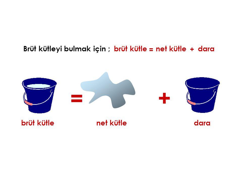 Brüt kütleyi bulmak için ;brüt kütle = + brüt kütlenet kütle dara = net kütle + dara