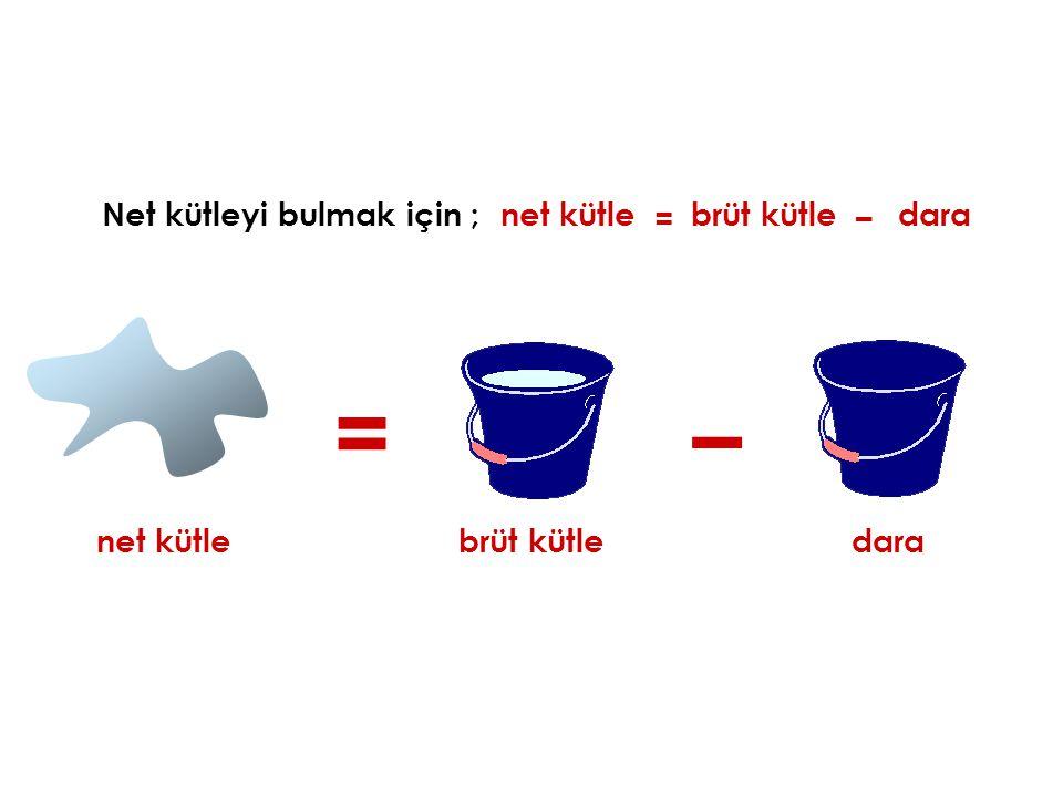 Net kütleyi bulmak için ;net kütle = – brüt kütle net kütle dara = brüt kütle – dara