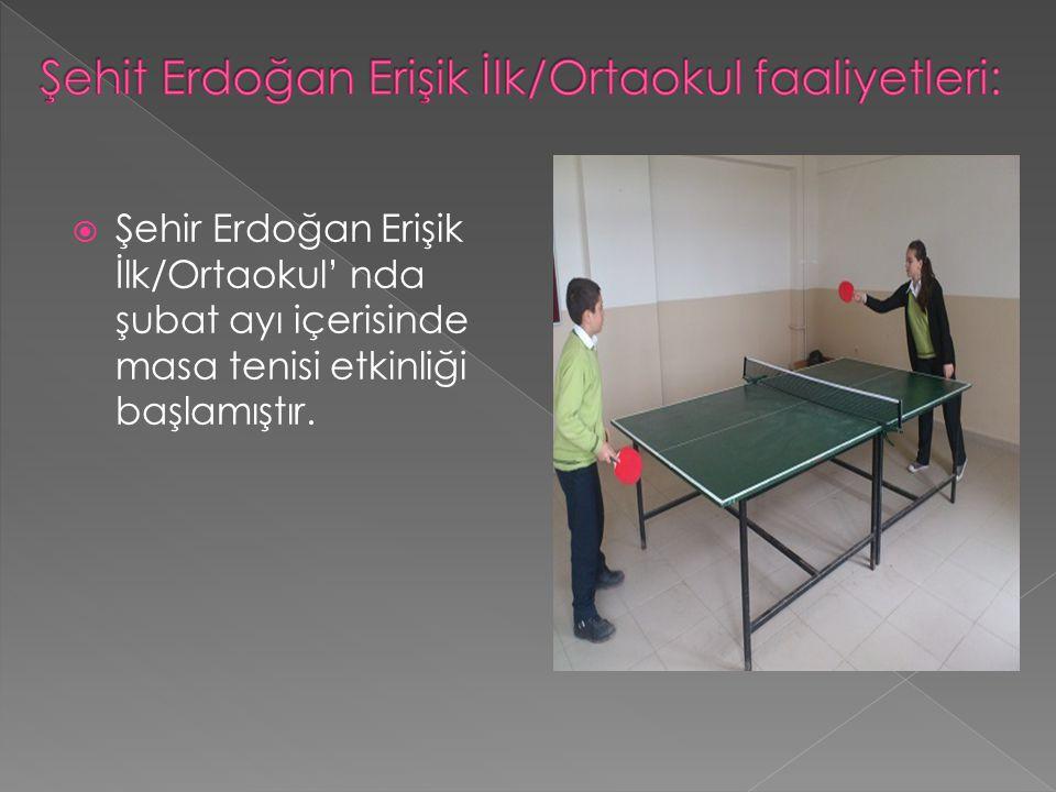  Şehir Erdoğan Erişik İlk/Ortaokul' nda şubat ayı içerisinde masa tenisi etkinliği başlamıştır.