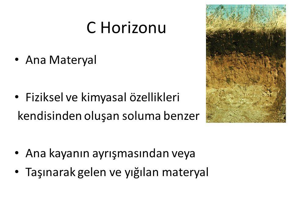 C Horizonu Ana Materyal Fiziksel ve kimyasal özellikleri kendisinden oluşan soluma benzer Ana kayanın ayrışmasından veya Taşınarak gelen ve yığılan ma