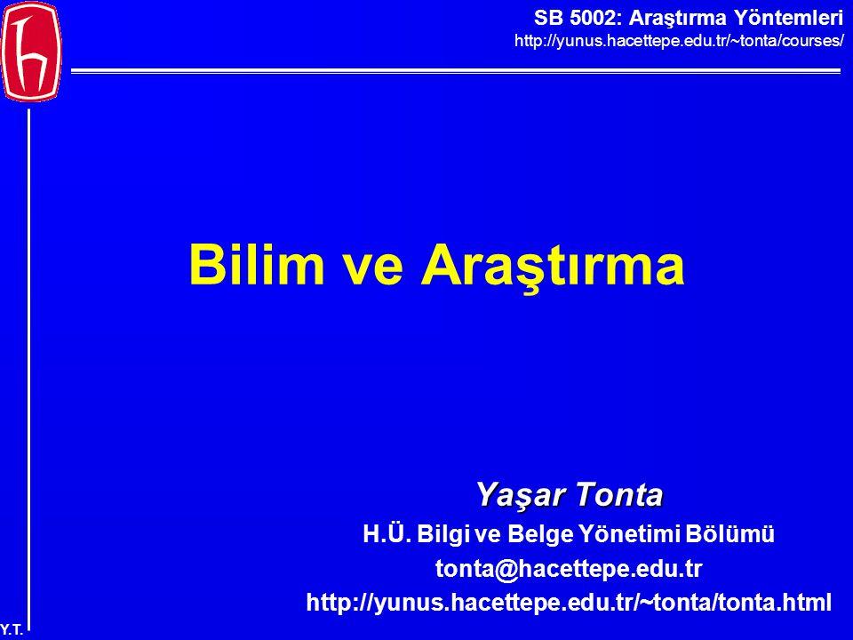SB 5002: Araştırma Yöntemleri http://yunus.hacettepe.edu.tr/~tonta/courses/ Y.T. Bilim ve Araştırma Yaşar Tonta H.Ü. Bilgi ve Belge Yönetimi Bölümü to