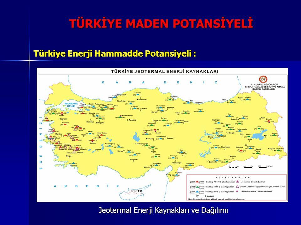 TÜRKİYE MADEN POTANSİYELİ Türkiye Enerji Hammadde Potansiyeli : Jeotermal Enerji Kaynakları ve Dağılımı