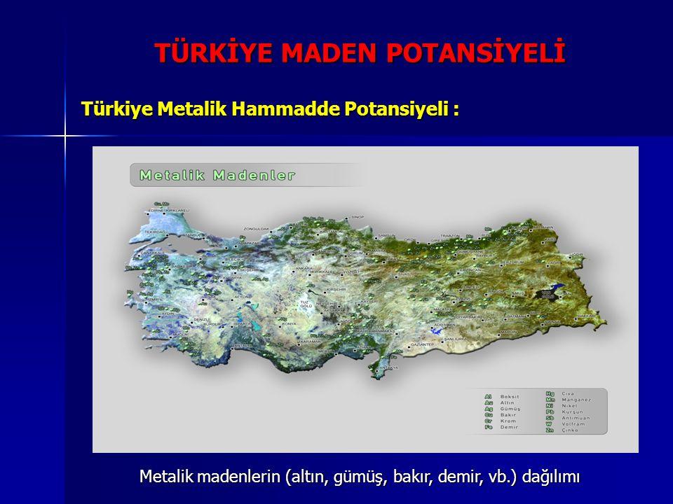 TÜRKİYE MADEN POTANSİYELİ Türkiye Metalik Hammadde Potansiyeli : Metalik madenlerin (altın, gümüş, bakır, demir, vb.) dağılımı