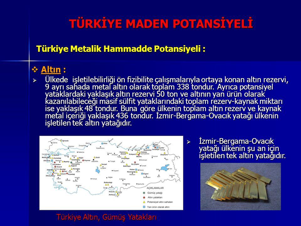 TÜRKİYE MADEN POTANSİYELİ Türkiye Metalik Hammadde Potansiyeli :  Altın:  Altın :  Ülkede işletilebilirliği ön fizibilite çalışmalarıyla ortaya kon