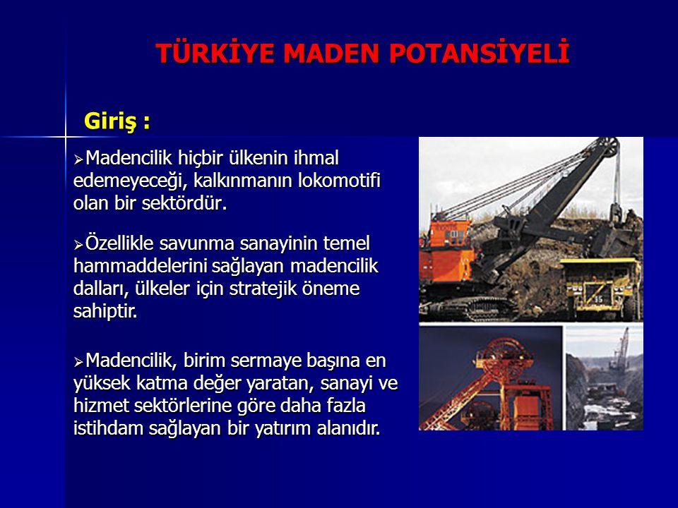  Madencilik hiçbir ülkenin ihmal edemeyeceği, kalkınmanın lokomotifi olan bir sektördür. Giriş : TÜRKİYE MADEN POTANSİYELİ  Özellikle savunma sanayi