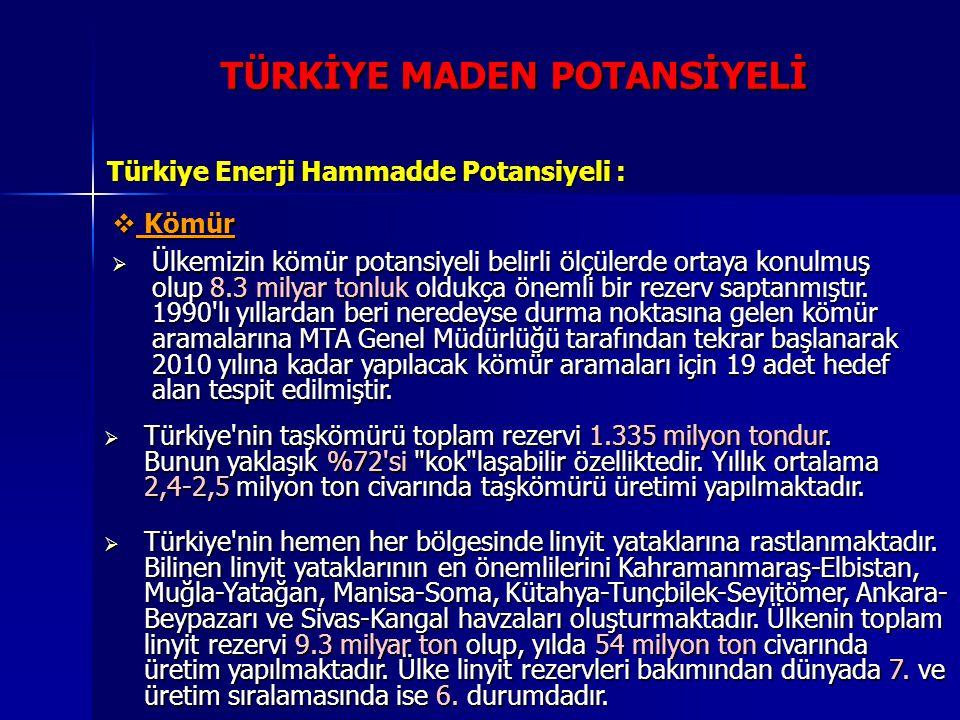 Türkiye Enerji Hammadde Potansiyeli :  Kömür  Ülkemizin kömür potansiyeli belirli ölçülerde ortaya konulmuş olup 8.3 milyar tonluk oldukça önemli bi