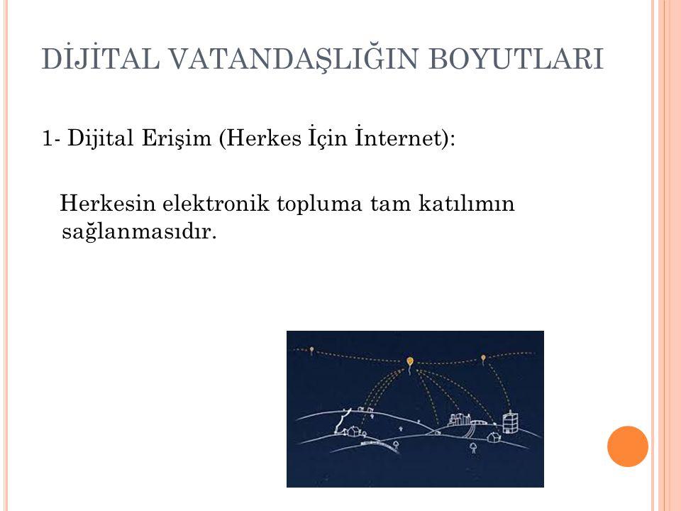 DİJİTAL VATANDAŞLIĞIN BOYUTLARI 1- Dijital Erişim (Herkes İçin İnternet): Herkesin elektronik topluma tam katılımın sağlanmasıdır.