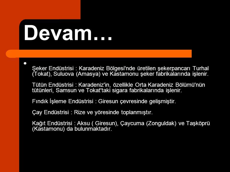 Devam… Şeker Endüstrisi : Karadeniz Bölgesi'nde üretilen şekerpancarı Turhal (Tokat), Suluova (Amasya) ve Kastamonu şeker fabrikalarında işlenir. Tütü