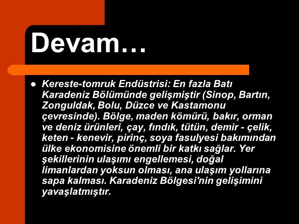 Devam… Kereste-tomruk Endüstrisi: En fazla Batı Karadeniz Bölümünde gelişmiştir (Sinop, Bartın, Zonguldak, Bolu, Düzce ve Kastamonu çevresinde). Bölge