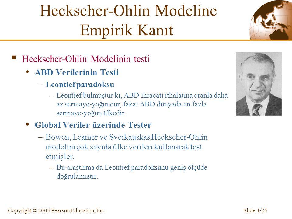 Slide 4-25Copyright © 2003 Pearson Education, Inc. Heckscher-Ohlin Modeline Empirik Kanıt  Heckscher-Ohlin Modelinin testi ABD Verilerinin Testi –Leo