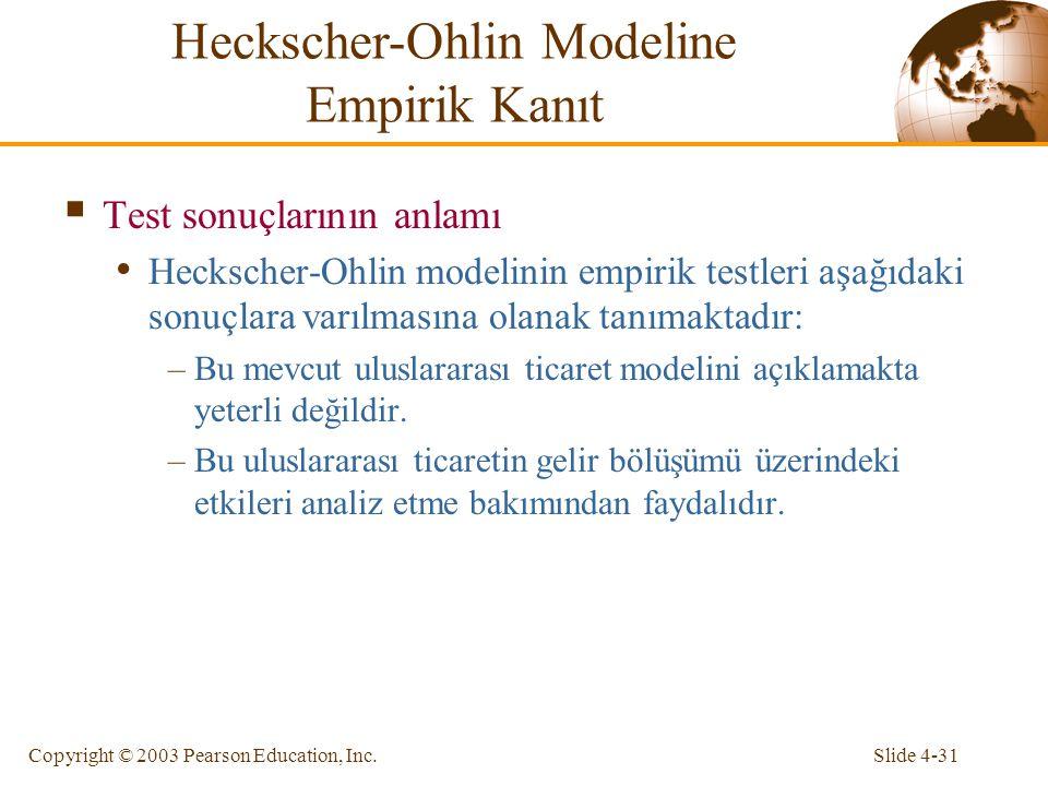Slide 4-31Copyright © 2003 Pearson Education, Inc.  Test sonuçlarının anlamı Heckscher-Ohlin modelinin empirik testleri aşağıdaki sonuçlara varılması