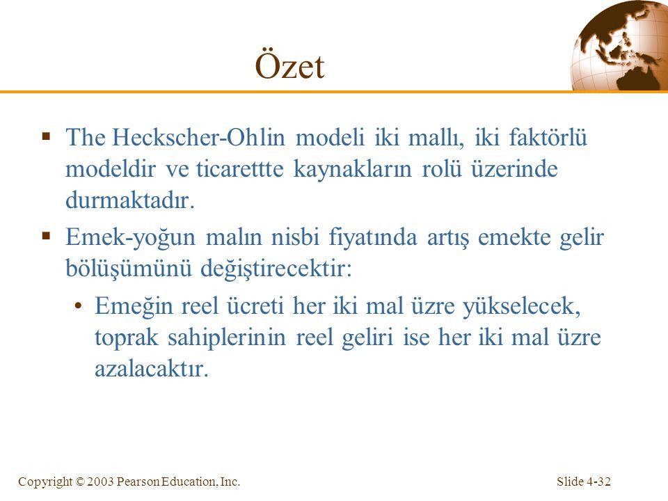 Slide 4-32Copyright © 2003 Pearson Education, Inc.  The Heckscher-Ohlin modeli iki mallı, iki faktörlü modeldir ve ticarettte kaynakların rolü üzerin