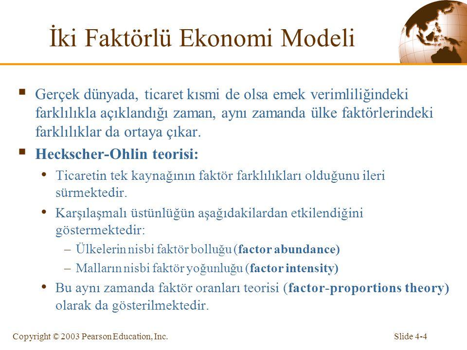 Slide 4-4Copyright © 2003 Pearson Education, Inc. İki Faktörlü Ekonomi Modeli  Gerçek dünyada, ticaret kısmi de olsa emek verimliliğindeki farklılıkl