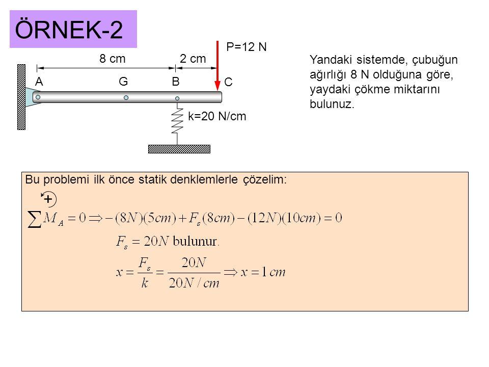 ÖRNEK-2 AGB C 8 cm2 cm P=12 N k=20 N/cm Yandaki sistemde, çubuğun ağırlığı 8 N olduğuna göre, yaydaki çökme miktarını bulunuz. Bu problemi ilk önce st