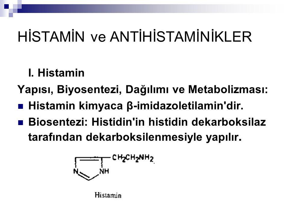 HİSTAMİN ve ANTİHİSTAMİNİKLER I. Histamin Yapısı, Biyosentezi, Dağılımı ve Metabolizması: Histamin kimyaca β-imidazoletilamin'dir. Biosentezi: Histidi